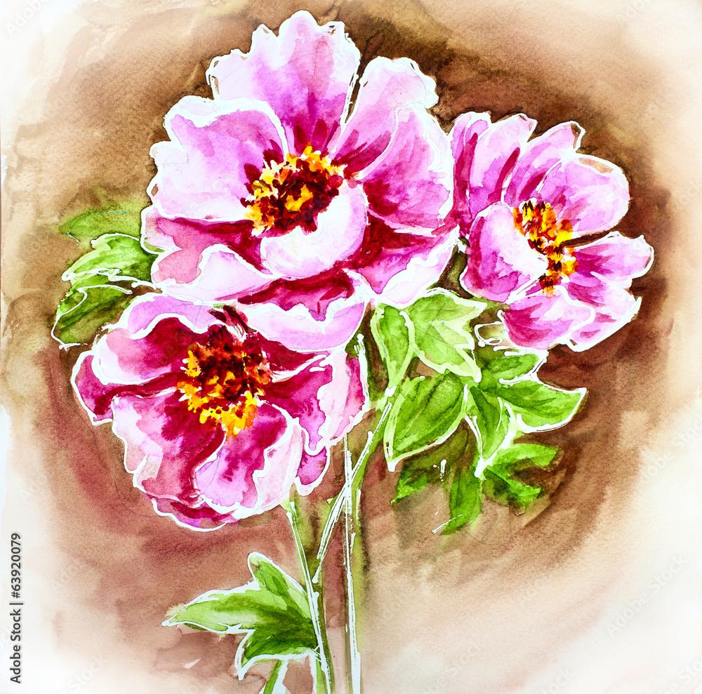 Malowane akwarela karty z kwiatami piwonii <span>plik: #63920079   autor: Valenty</span>
