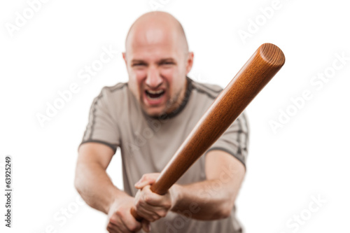 Obraz na plátne Screaming angry man hand holding baseball sport bat
