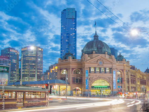 Flinders Street Station in Melbourne at night