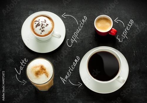 Cappuccino, espresso, americano and latte coffee Tapéta, Fotótapéta