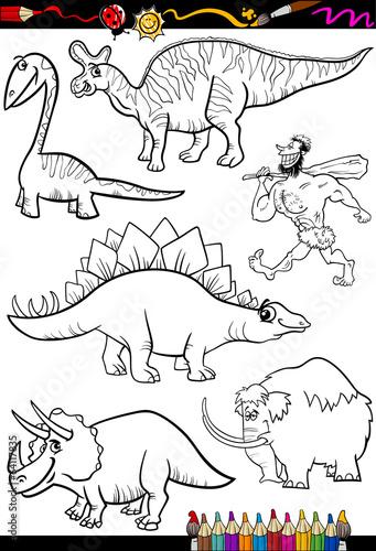 prehistoryczny zestaw do kolorowania książki