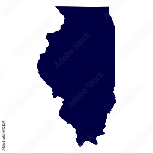 Stampa su Tela map of the U.S. state of Illinois