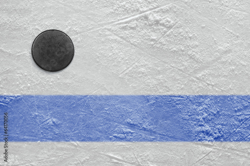 Blue line and hockey puck
