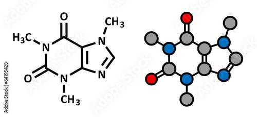 Fotografija Caffeine stimulant molecule. Present in coffee, tea, ...