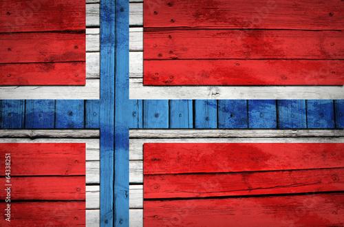 Wallpaper Mural Norwegian flag painted on wooden boards