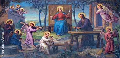 Fototapeta premium Vienna - Fresco of Holy Family in workroom in Carmelites church