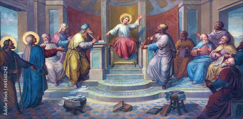 Fototapeta Vienna - Little Jesus among scribes in the Temple