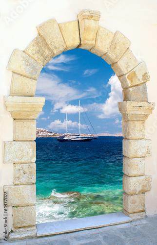 Fototapeta Tradycyjna architektura na wyspie Mykonos, Grecja ścienna