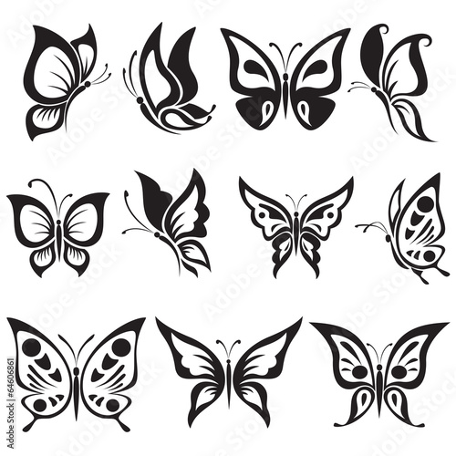 Vector set black and white butterflies #64606861