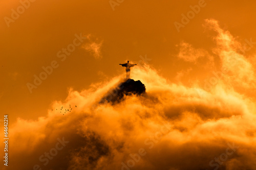 Corcovado Mountain with Christ the Redeemer on Sunset