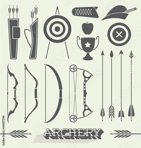Slika na platnu Vector Set: Archery Icons and Silhouettes