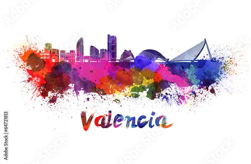 Valencia skyline in watercolor
