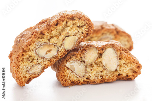 Fotografija Classic Italian biscotti with nuts on white.