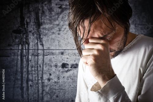 Fotografia, Obraz Depressive man is crying