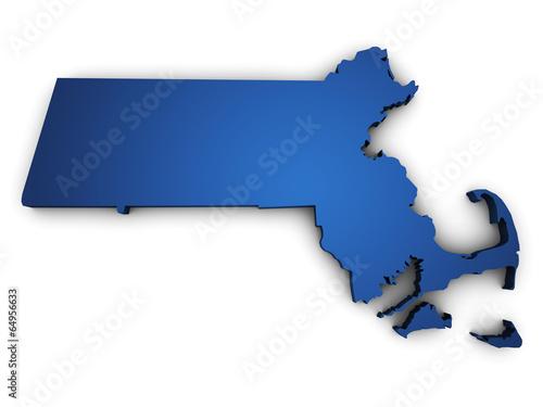 Fotografie, Obraz Map Of Massachusetts 3d Shape