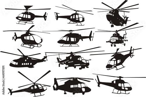 Valokuva helicoptersilhouettes set