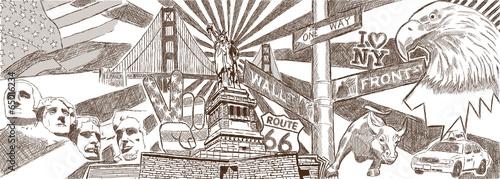 USA New York Zeichnung Graffiti Grafik Collage
