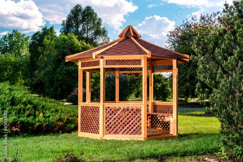 Fototapeta Outdoor wooden gazebo