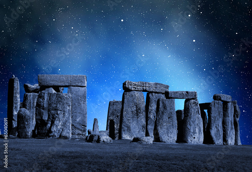 Fototapeta Historical monument Stonehenge in night,England, UK