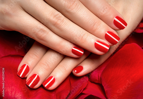 Canvas Print Beautiful female finger nails with red nail closeup on petals