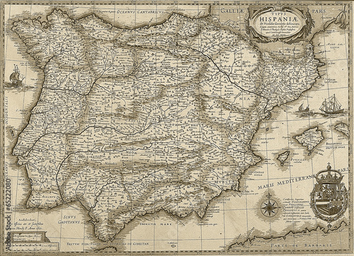Canvas Print Antique Spain and Portugal map in sepia tone