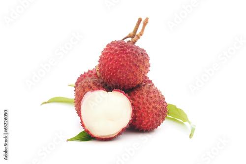 ripe lychee fruit on white background