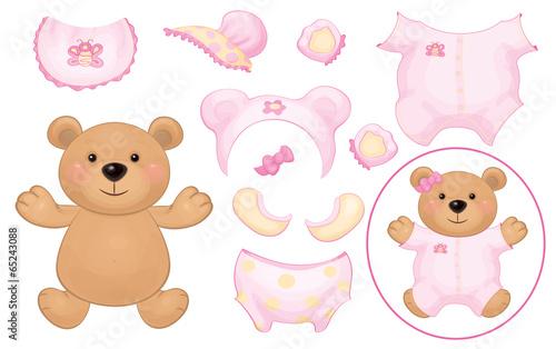 Vector cute  bear girl and baby clothing, dress up baby bear.