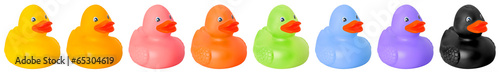 Photographie Toy rubber colored ducks isolated on white