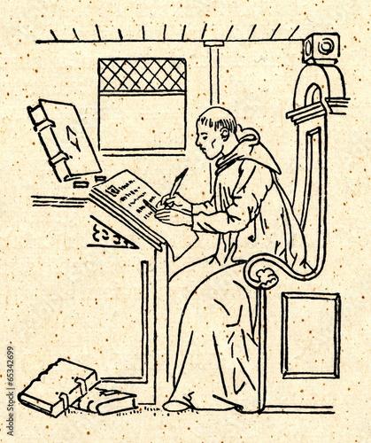 Obraz na plátně Copying of manuscript by monastic scribe