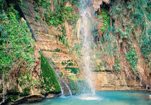 Fotografia David's waterfall at Ein Gedi Nature Reserve