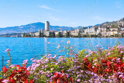 Canvas Print View on Montreux coastline from Geneva lake, Switzerland.