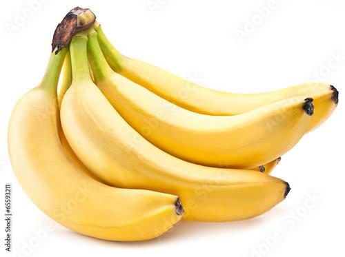 Banana fruits on over white. Fototapeta