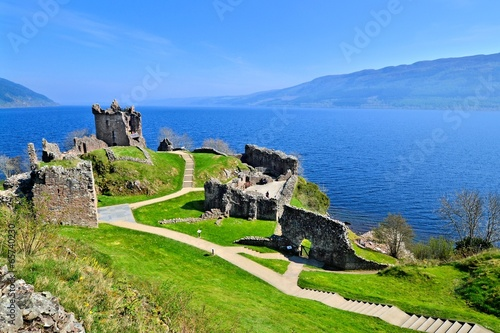 Ruins of Urquhart Castle along Loch Ness, Scotland Fototapeta