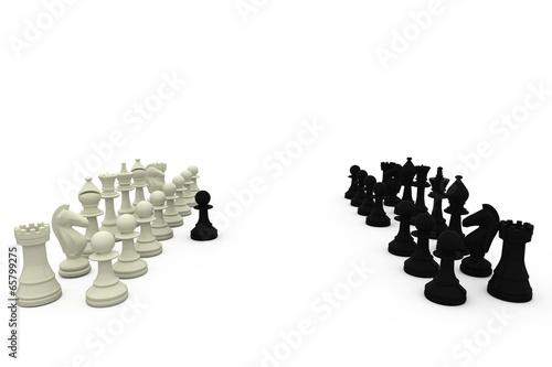 Obraz na płótnie Black pawn defecting to white side