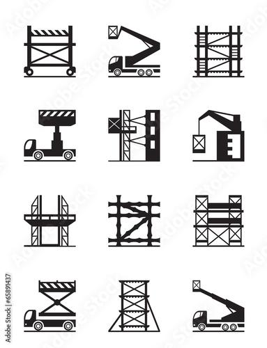 Photo Scaffolding and construction cranes icon set