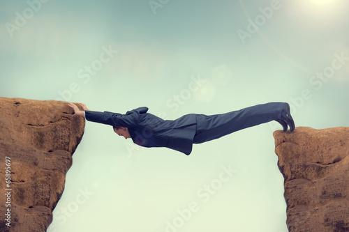 Foto businessman over stretched