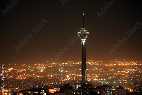 Tehran skyline and illuminated Milad Tower at night, Tehran, Ira