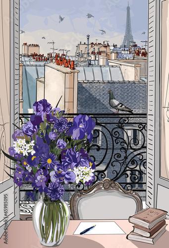 Fototapeta Widok z okna na krajobraz Paryża rysunkowa XXL