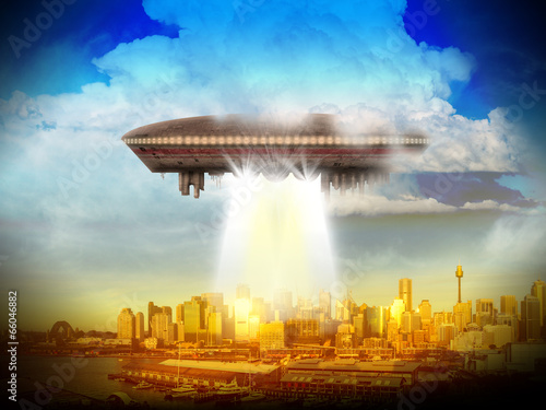 Fotografie, Obraz Alien Planet sci-fi scene. Artist's Rendition.