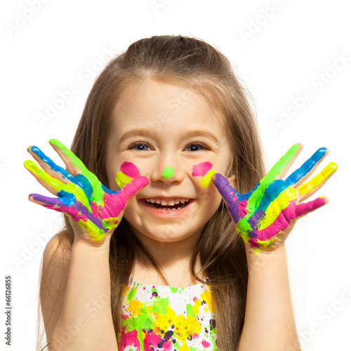 Little girl with hands painted in colorful paint #66126855