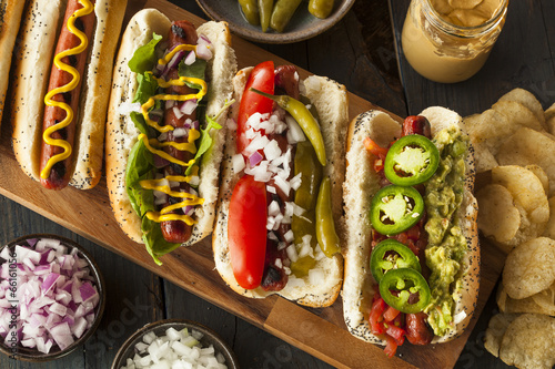 Fototapeta Gourmet Grilled All Beef Hots Dogs