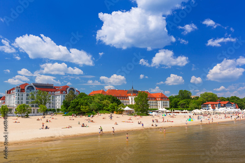 Summer on the beach of Baltic Sea in Sopot, Poland #66184282