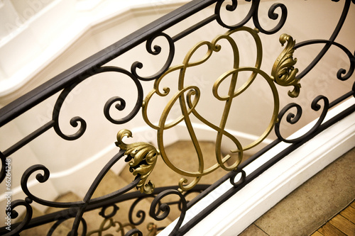 Canvas Print Wrought iron handrail in a French house