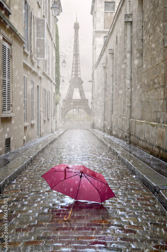 Romantic alley on a rainy day.