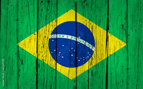 Brazil Flag Wood Background