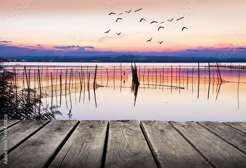 el lago con el agua en calma