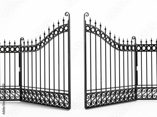 Leinwand Poster Black iron gate