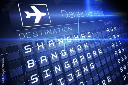 Blue departures board for asian cities