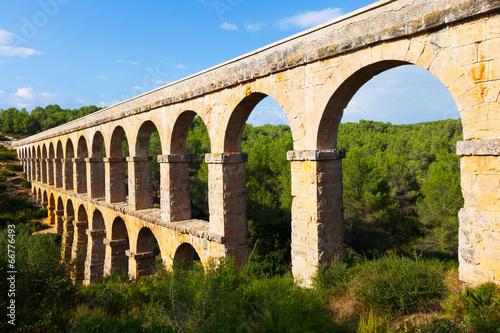 ancient  aqueduct in summer forest. Tarragona Fototapeta