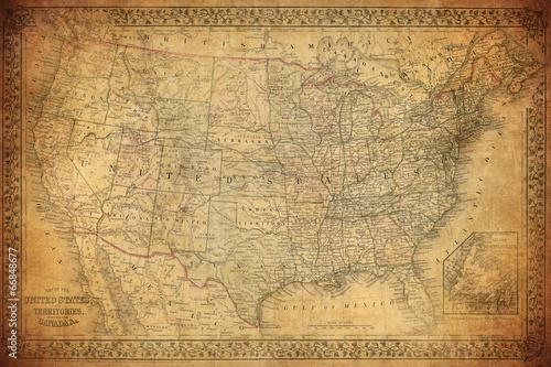 Valokuva Vintage map of United States 1867